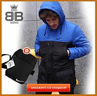 Парка мужская зимняя с капюшоном теплая, комплект куртка штаны Winter Parka синий + Подарок, фото 1