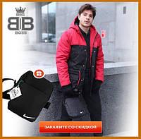 Парка мужская зимняя с капюшоном теплая, комплект куртка штаны Winter Parka красный + Подарок, фото 1
