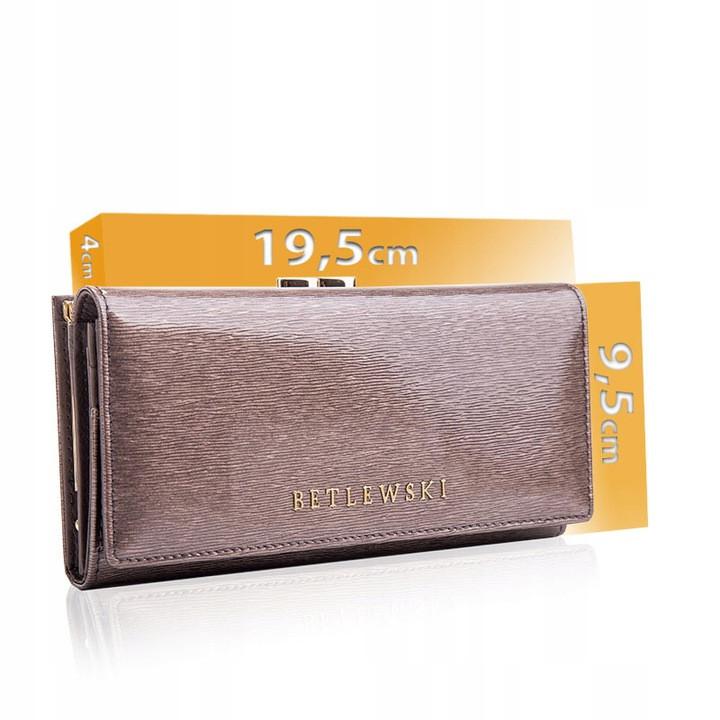 Жіночий шкіряний гаманець Betlewski з RFID 19,5 х 9,5 х 4 (BPD-BS-72031) - сірий