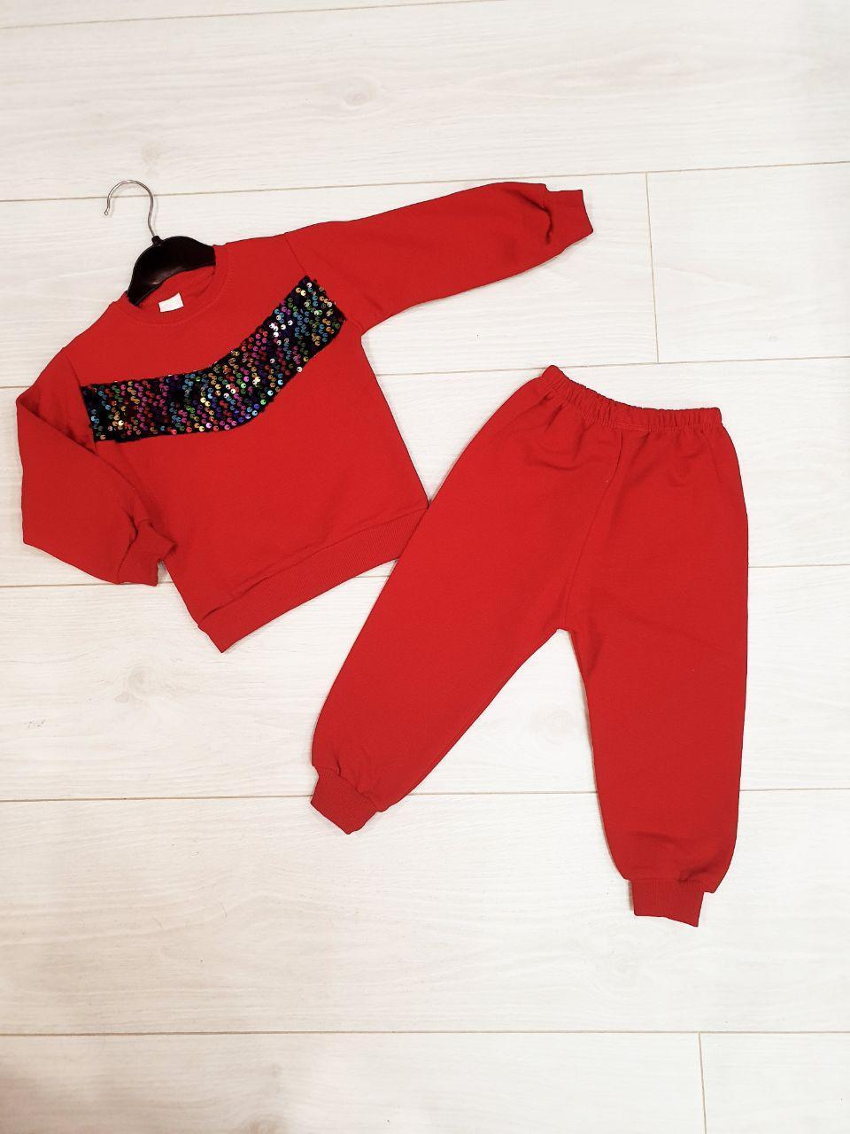 Трикотажный костюм прогулочный  для девочки с паетками на возраст 1,2,3 года , красный, Турция