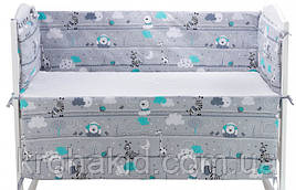 Защита (бортики) в детскую кроватку на 4 стороны - 120*60 см / бампер в детскую кроватку