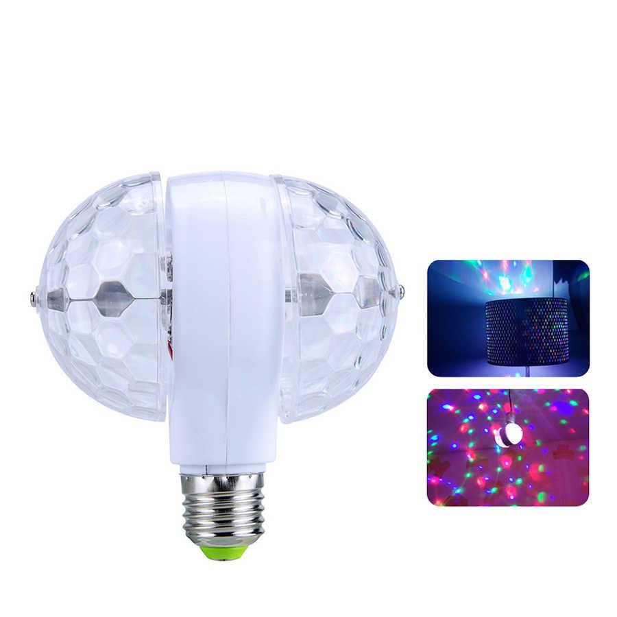 Диско-лампа светодиодная двойная вращающаяся LED в патрон E27 Magic Ball Light для вечеринок и дискотек