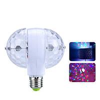 Диско-лампа светодиодная двойная вращающаяся LED в патрон E27 Magic Ball Light для вечеринок и дискотек, фото 1