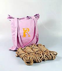 Набор веревок для 6мм шибари 4х8м.+ сумка, БДСМ набор, джут.натуральная