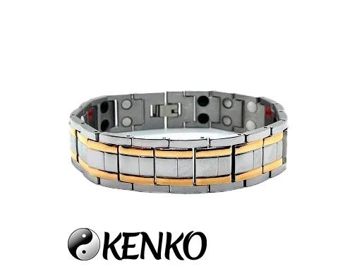Широкий магнитный браслет с позолотой