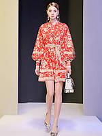 Осіннє жіноче плаття з коміром-стійкою і довгими рукавами 2 кольори, фото 1