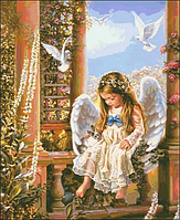 Картины по номерам Алмазная мозаика на подрамнике Ангел 50*40, c принт. Рамой