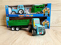 Игрушка синий трактор, синий трактор с прицепом, Синий трактор, трактор из мультфильма, синий трактор
