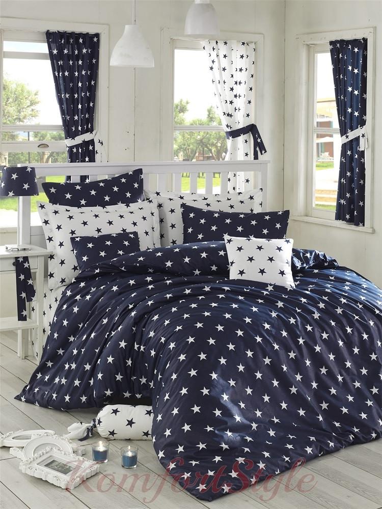 Комплект постельного белья LIGHTHOUSE  ranforce BLACK NIGHT тёмно синий 200*220/2*50*70