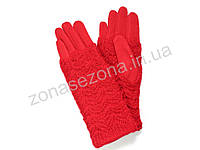 Зимние женские перчатки красные с довязом