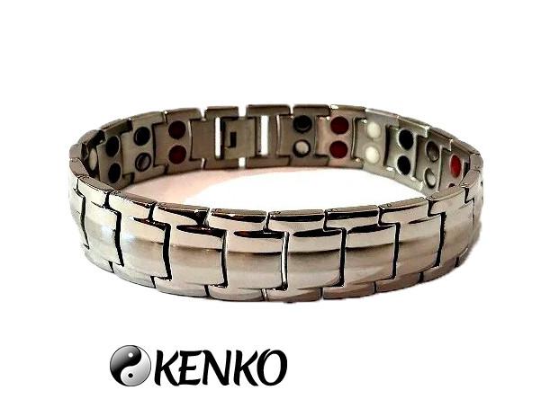Широкий магнитный браслет с турмалиновыми вставками