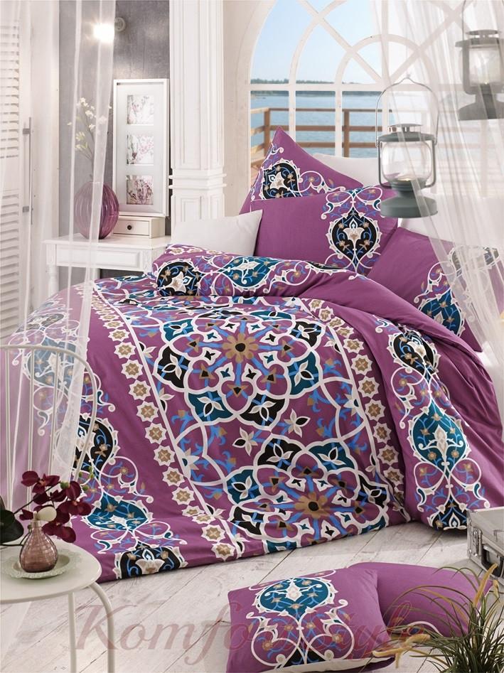 Комплект постельного белья LIGHTHOUSE  ranforce KAYRA розовый 200*220/2*50*70*