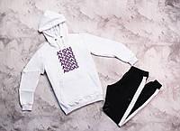 Мужской осенныий костюм, белый худи+черные штаны c лампасами, костюм Adidas (фиолетовый лого). Реплика, фото 1