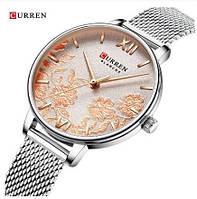 Годинники наручні жіночі кварцові срібні мідні зодотые райдужні Curren 9065 Silver-Cuprum 1008-0210