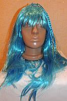 Парик длинный голубой с косичками