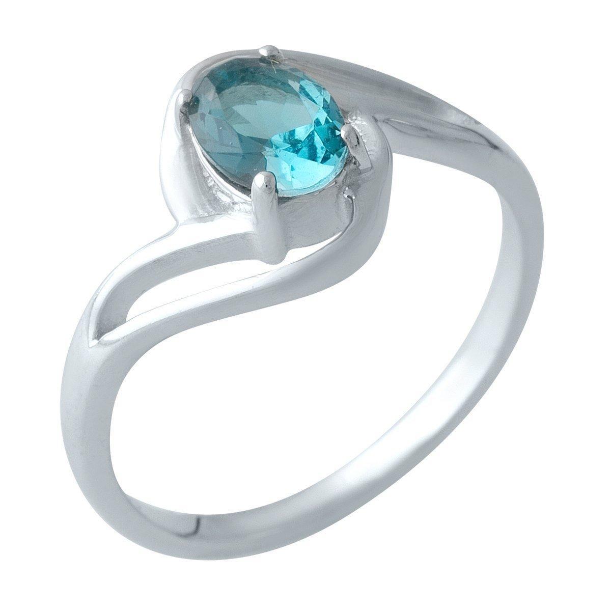 Серебряное кольцо DreamJewelry с натуральным топазом Лондон Блю (1997925) 18 размер