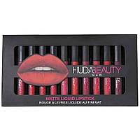 Набор жидких губных помад Huda Beauty 12 цветов подарок девушке на 8 марта (Оригинальные фото)