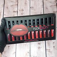 Подарочный набор жидких матовых губных помад HudaBeauty 12шт (живые фото) Huda Beauty