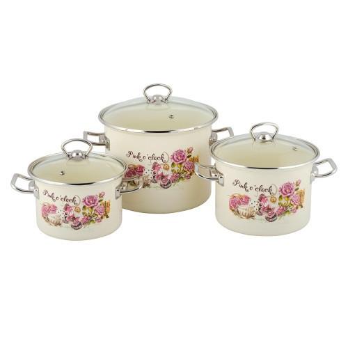 Набор эмалированной посуды Idilia Время розового 3 предмета (№1600)