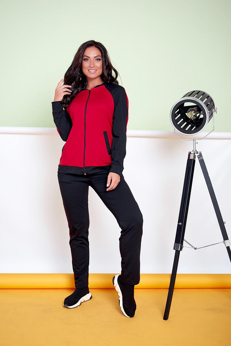 Женский спортивный костюм больших размеров с бомбером 48/58 черный/красный