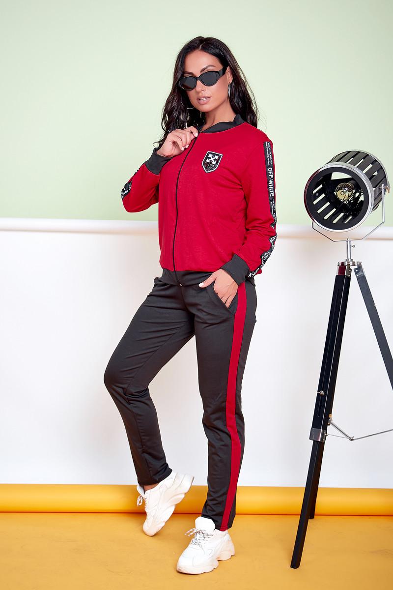Р. 48-58 Двухцветный женский спортивный костюм большого размера с бомбером черный/красный
