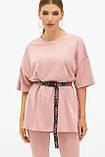 Женская розовая футболка оверсайз Хизер 2, фото 2