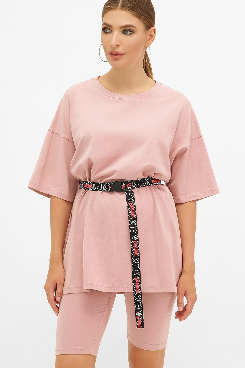 Женская розовая футболка оверсайз Хизер 2