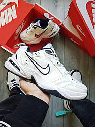 Белые мужские кроссовки Nike Air Monarch IV / чоловічі кросівки Найк Монарх (Топ реплика ААА+)