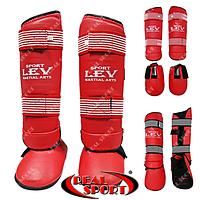 Захист гомілки й стопи для єдиноборств Lev Sport LV-0421, червона, фото 1