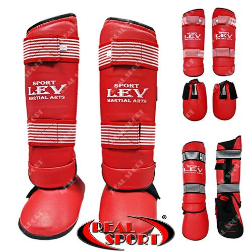 Захист гомілки й стопи для єдиноборств Lev Sport LV-0421, червона