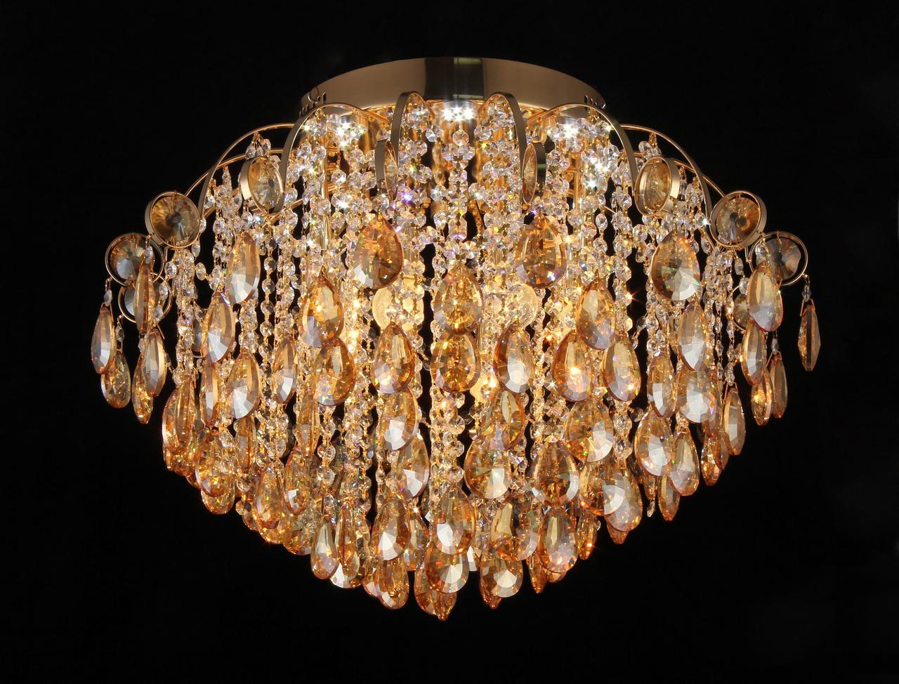 Люстра хрустальная LED на 8 лампочек в золоте 3-E1524/8+8 FGD