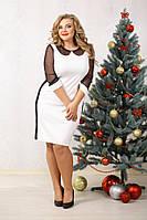 Платье Марни чёрно-белое, французский трикотаж, сетка, большого размера 48-94, батал 60