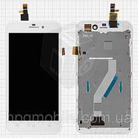 Дисплейный модуль (+сенсор) для Fly IQ452 Quad EGO Vision 1, с передней панелью, белый, оригинал