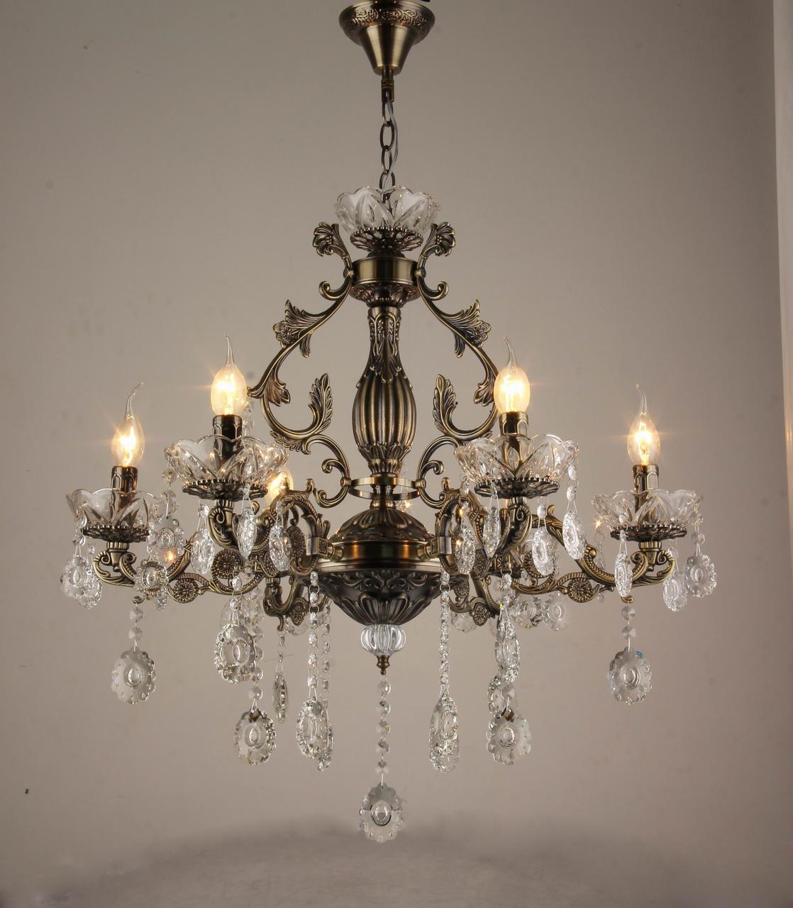 Люстра хрустальная на 6 лампочек бронза 3-N3030/6 AB