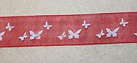 Лента органза 918 Бабочки красная 25 мм, фото 1