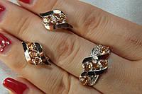 Комплект украшений из серебра с золотом и фианитами