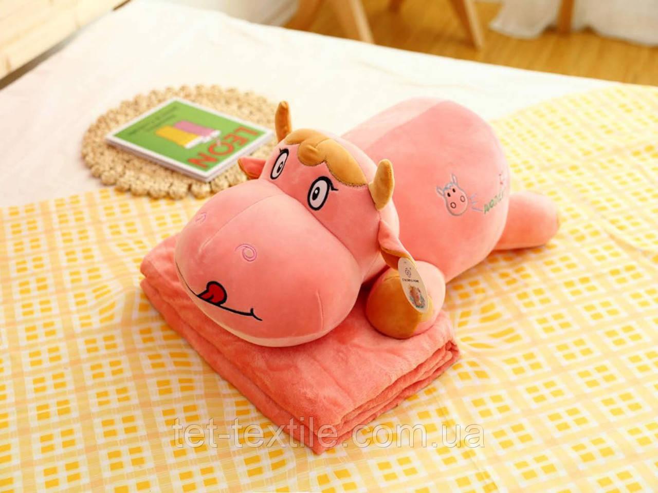 """Плед - мягкая игрушка """"Бычок"""" розовый"""