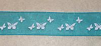 Лента органза 920 Бабочки голубая 25 мм, фото 1