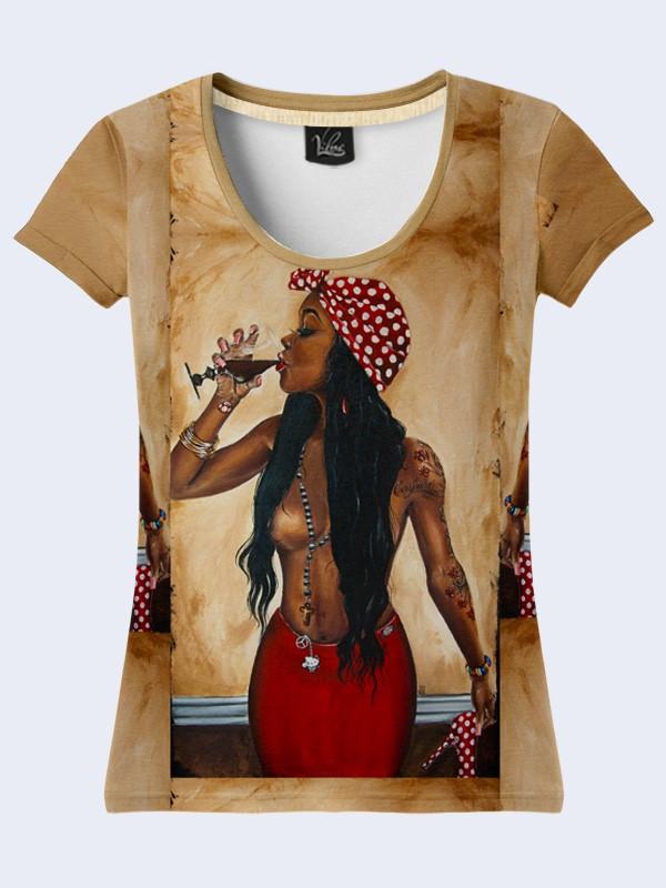 Женская футболка с принтом Мулатка с бокалом вина