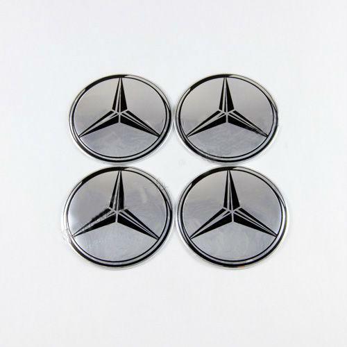Наклейки на колпачки Mercedes-Benz хром/черный лого 56 мм
