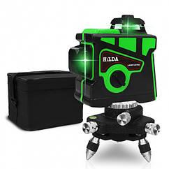 Лазерный уровень Hilda 3D 12 линий + ТРЕНОГА ☀ ЗЕЛЕНЫЙ ЛУЧ ☀