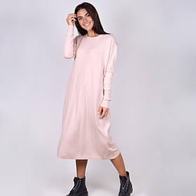 Базовое трикотажное однотонное платье-миди свободного кроя в 5 расцветках в размере 42-48