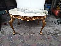 Столик журнальный деревянный с мраморной  плитой, фото 1