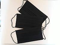 Маска защитная медицинская трехслойная с фиксатором на носу штампованная черная 10 шт. заводская