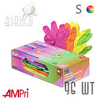 Перчатки Ampri нитриловые (96 шт), Tutti-frutti /4 цвета. S