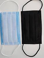 Маска для лица детская черная трехслойная защитная с фиксатором на носу штампованная 1 шт. заводская