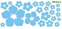 """Наклейка на стену, виниловые наклейки, стикеры """"голубые цветы"""" 23 цветочка в наборе 3-18см (лист20*60)"""