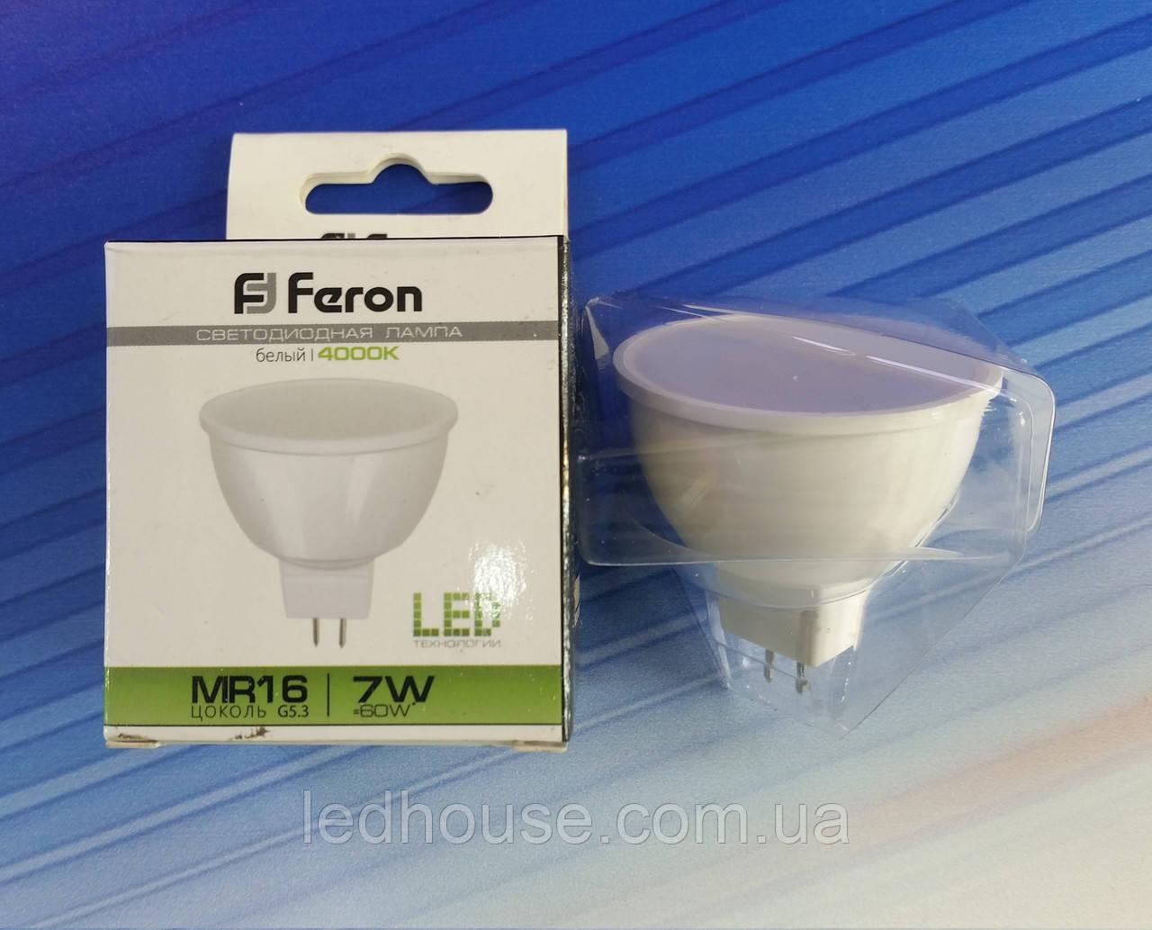 Светодиодная лампа Feron MR16 7W 220V GU5,3