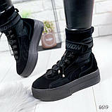 Черные ботинки из натуральной замши с терм носком внутри, фото 7