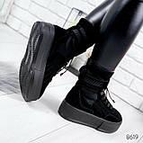 Черные ботинки из натуральной замши с терм носком внутри, фото 6